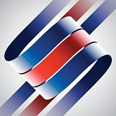 Red and blue shiny curved ribbons on white background