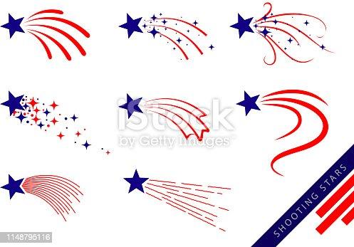 american flag concept shooting stars