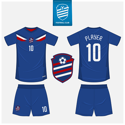 Red and Blue soccer jersey or football kit mockup template design for sport club.