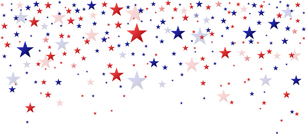 Red and blue stars falling