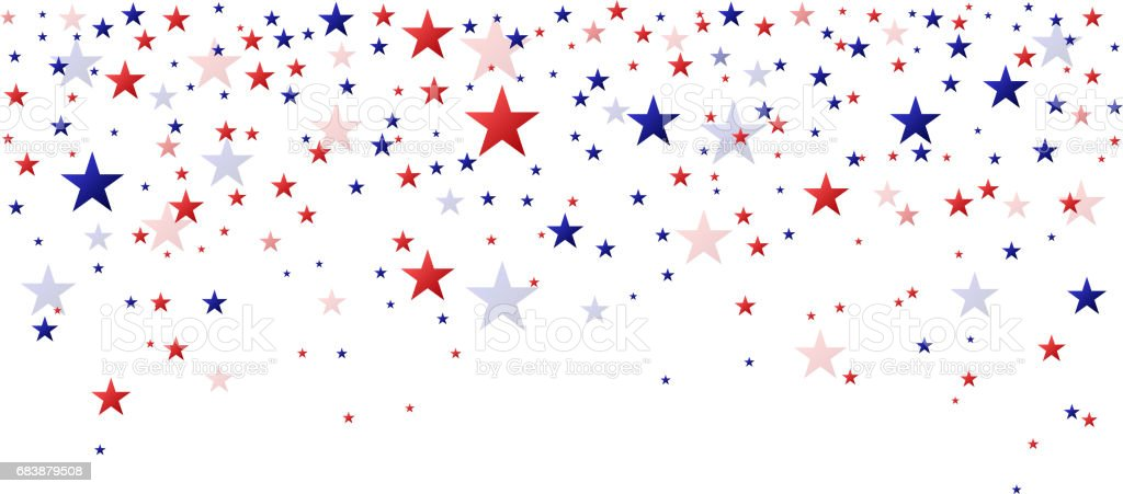 Red and blue stars falling vector art illustration