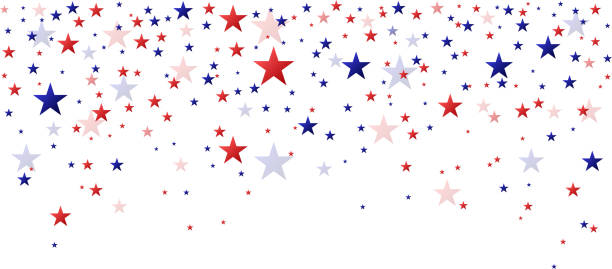 Red and blue stars falling fourth of july celebration background independence day illustrations stock illustrations