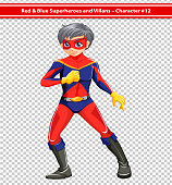 Illustration of a red and blue superhero