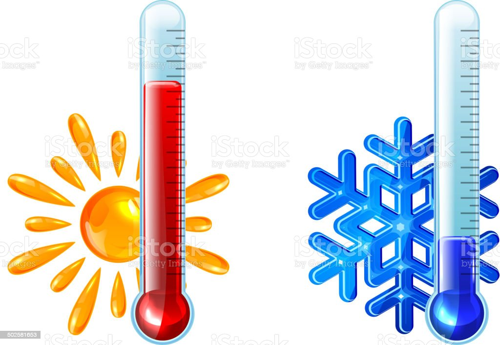 Red and blue thermometers vector art illustration