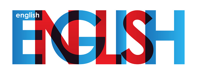 ENGLISH red and blue typography banner