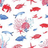 Red and blue underwater watercolor seamless vector pattern