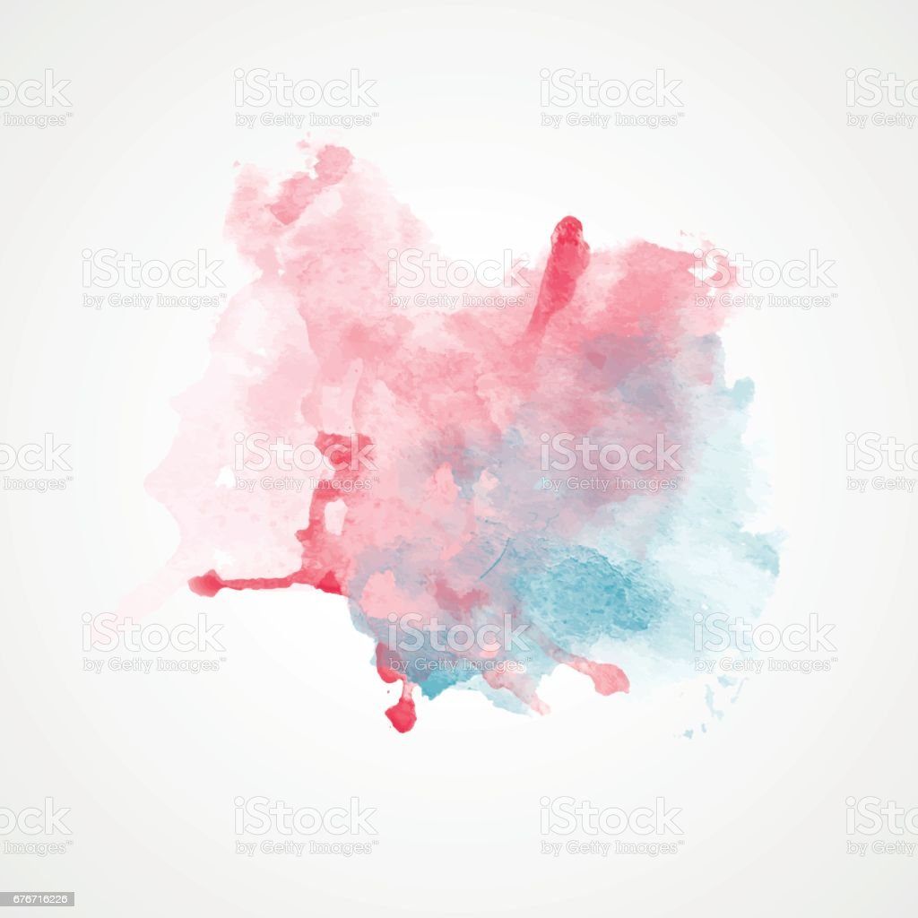 Red and Blue Watercolor Splash with gradient effect. Bright colorful grunge blob. vector art illustration