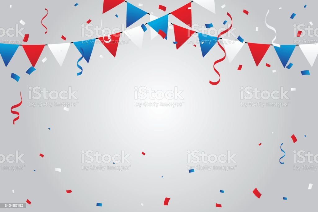 red and blue white party flags with confetti and streamer ribbons