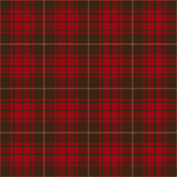 Red And Brown Tartan Plaid Seamless Pattern Design Red and brown seamless traditional tartan plaid pattern design. tartan pattern stock illustrations