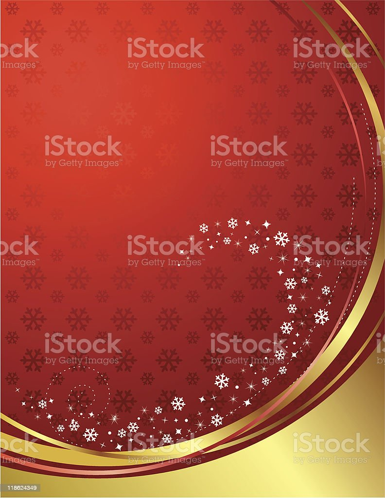 Red and gold background with snowflakes. royalty-free stock vector art