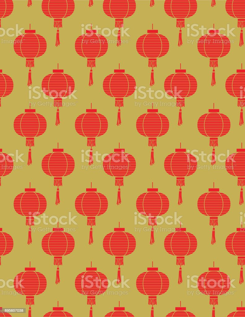 Red And Gold Chinese traditional Seamless Pattern. vector art illustration