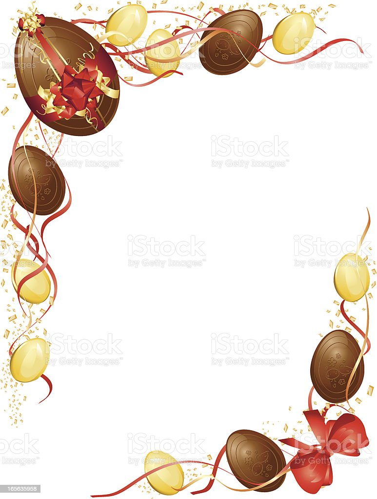 red and gold chocolate easter egg frame stock vector art 165635958