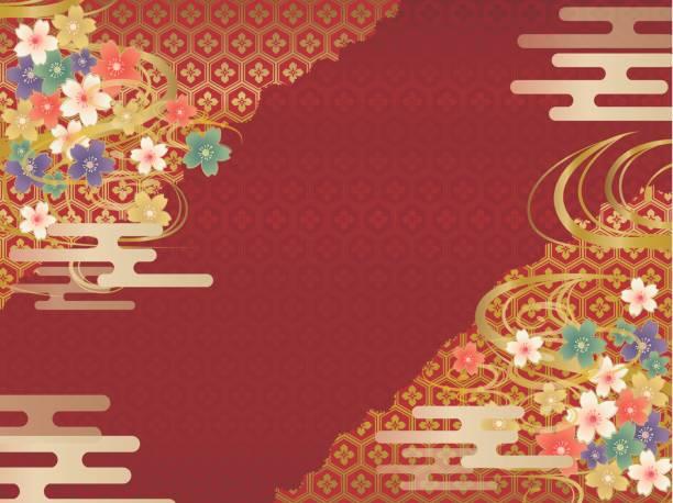 赤と金の和柄の背景 - 新年点のイラスト素材/クリップアート素材/マンガ素材/アイコン素材