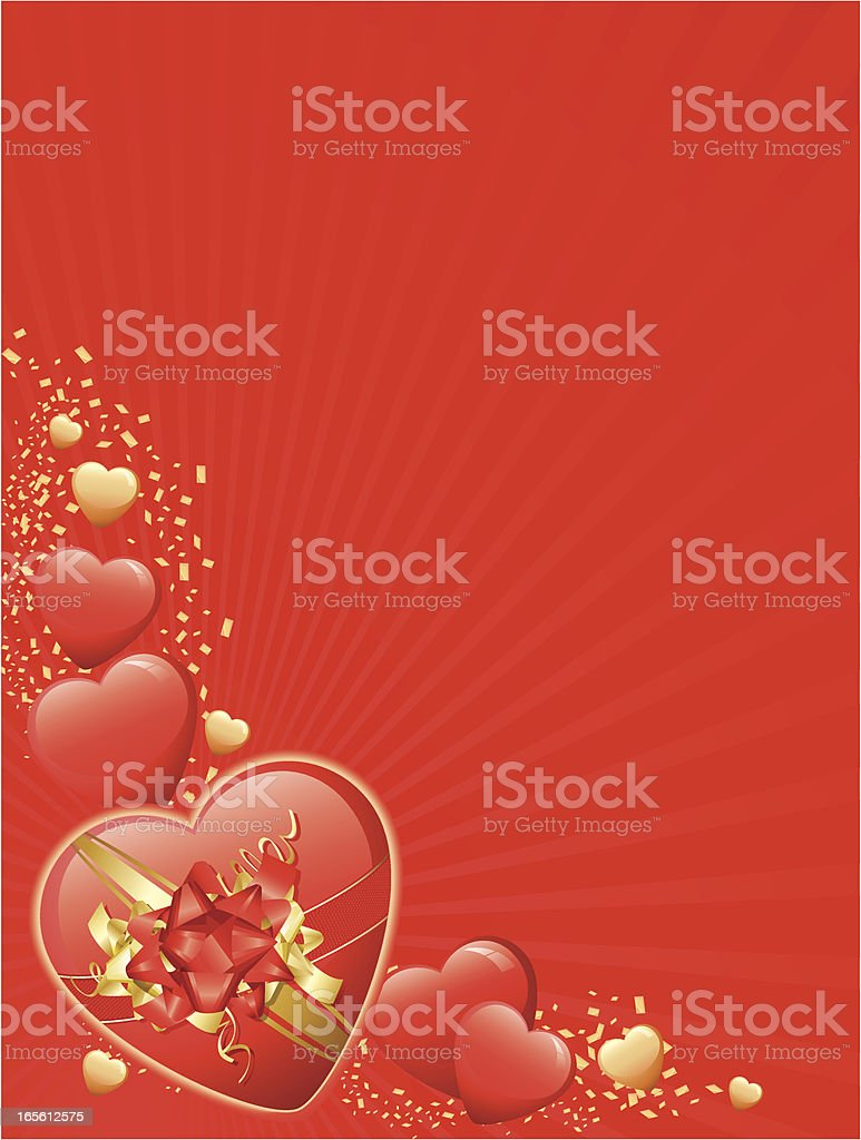 Red and Gold Valentine Heart Corner Background Vertical 免版稅 red and gold valentine heart corner background vertical 向量插圖及更多 垂直構圖 圖片