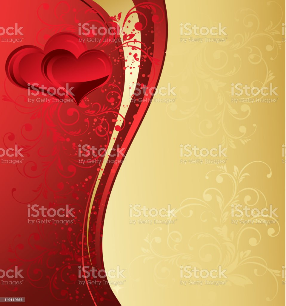 Red and gold Valentine's Day background royalty-free stock vector art