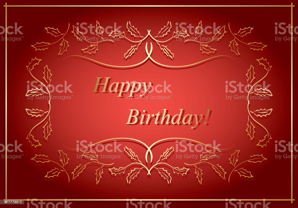 red and gold vector greeting card - happy birthday royalty-free red and gold vector greeting card happy birthday stock vector art & more images of backgrounds