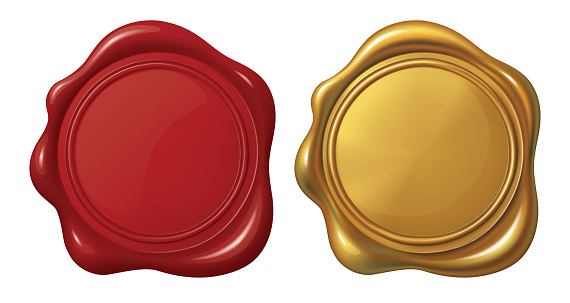 Red and Golden Stamp wax seal_Vector EPS 10