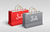 Red and Gray paper bag, Shopping sale, with rope handles, mock up design, on gray background, Eps 10 vector illustration