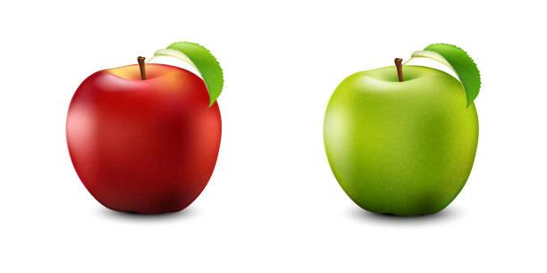 roten und grünen apfel set. realistisch mit blatt. detaillierte 3d illustration, isolated on white.  vektor-illustration. - apple stock-grafiken, -clipart, -cartoons und -symbole