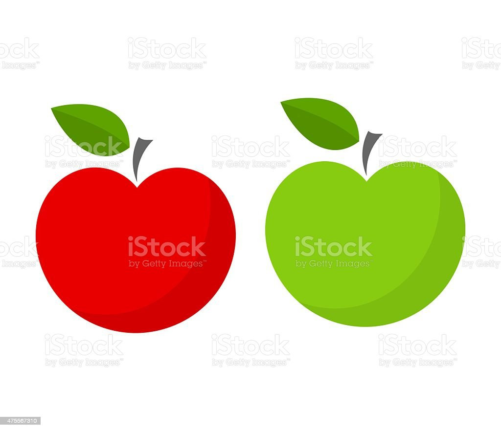 Red and green apple vector art illustration