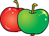 istock Red and green apple vector. 1298842194