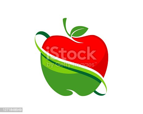 Red and green apple with swoosh