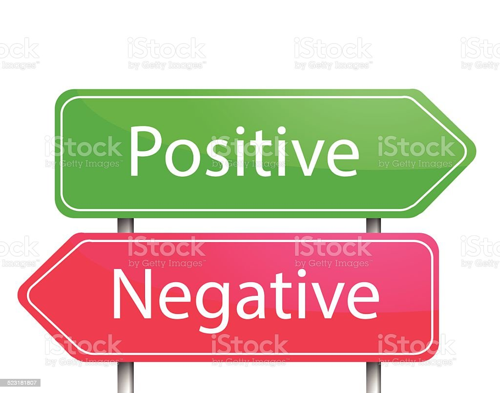 Red and green arrow sign post Positive  and Negative vector vector art illustration