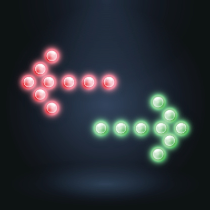 Red and green arrows on dark background