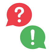 Red and green dialog boxes. Question mark and exclamation mark. Vector illustration