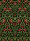 Pattern with ornamental flowers. Red and green filigree ornament. Colorful template for wallpaper, textile, shawl, carpet and any surface.