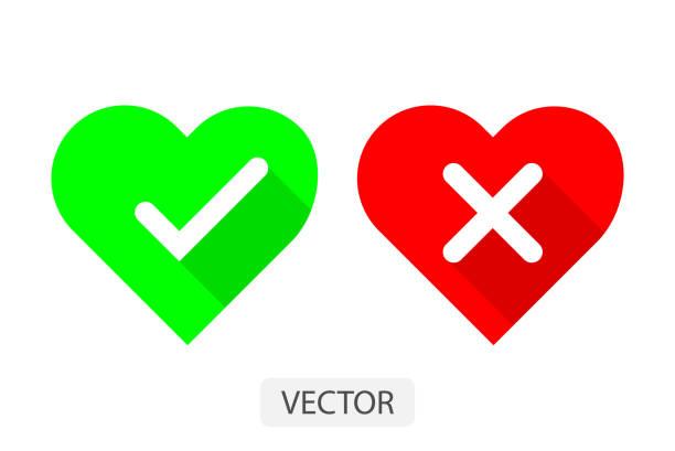 illustrazioni stock, clip art, cartoni animati e icone di tendenza di red and green hearts with yes and no check marks flat icon vector illustration design for love concept. - furioso