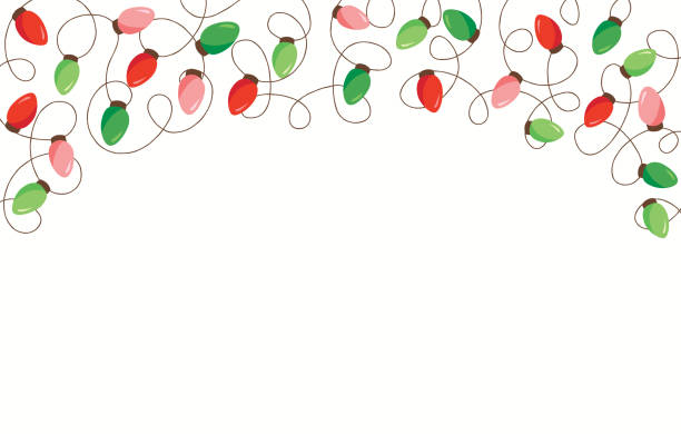 Red and Green Holiday Christmas and New Year Intertwined String Lights on White Background Top Fame Element Red and Green Holiday Christmas and New Year Intertwined String Lights on White Background Top Fame Element. Winter Festive Holiday Print for Greeting Cards and Banner christmas fun stock illustrations