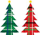 Vector illustration of a red and a green plaid christmas tree.