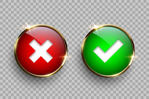 Red And Green Round Glass Buttons With Golden Frame With Tick And Cross Signs Isolated On Transparent Background Vector 3d Design Elements Stock Illustration - Download Image Now - iStock