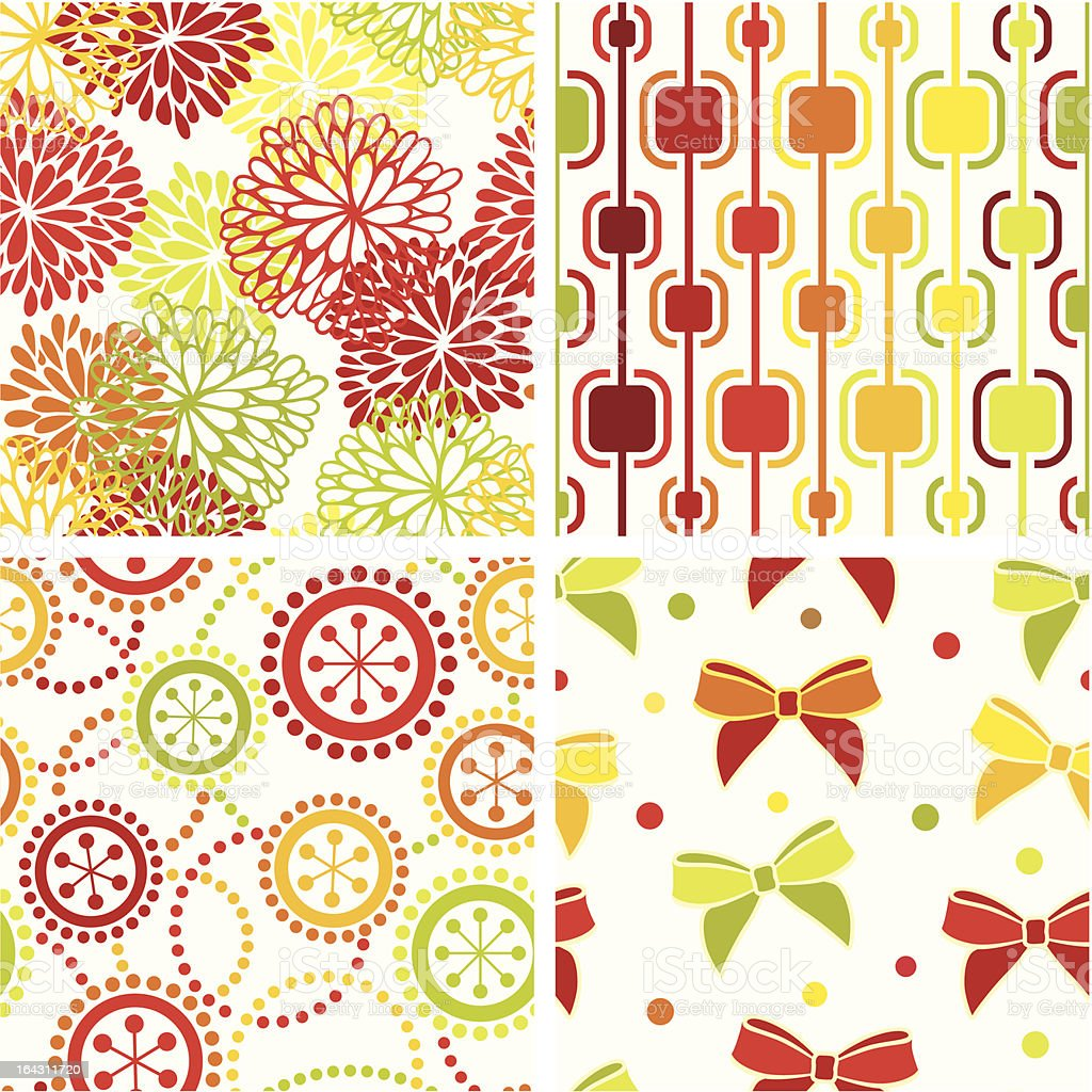 Red and green seamless collection royalty-free stock vector art