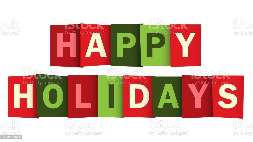 HAPPY HOLIDAYS красный и зеленый вектор типографии баннер - Векторная графика Баннер - знак роялти-фри