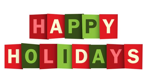 happy holidays 紅色和綠色向量排版橫幅 - happy holidays 幅插畫檔、美工圖案、卡通及圖標