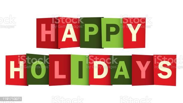 Happy Holidays Красный И Зеленый Вектор Типографии Баннер — стоковая векторная графика и другие изображения на тему Баннер - знак