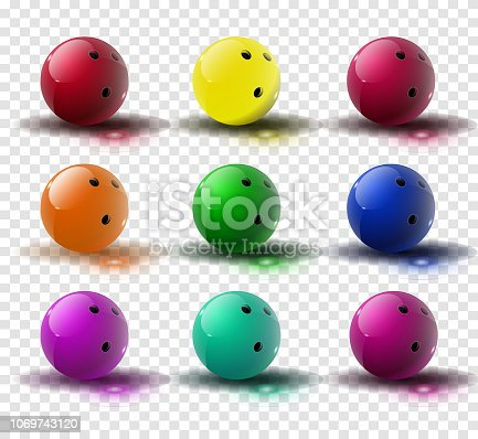 Red and multicolor Bowling Ball isolated on transparent background. Vector illustration. Vector illustration