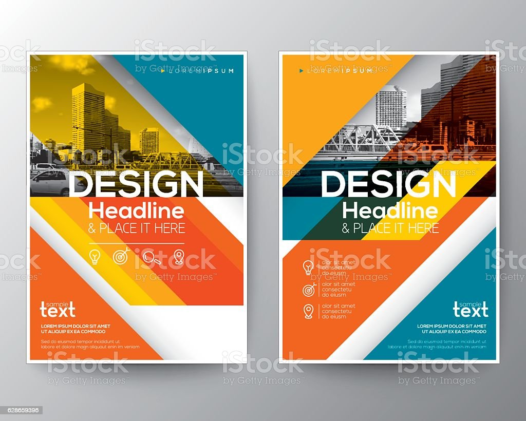 Red and Orange diagonal line Brochure annual report cover Flyer vector art illustration