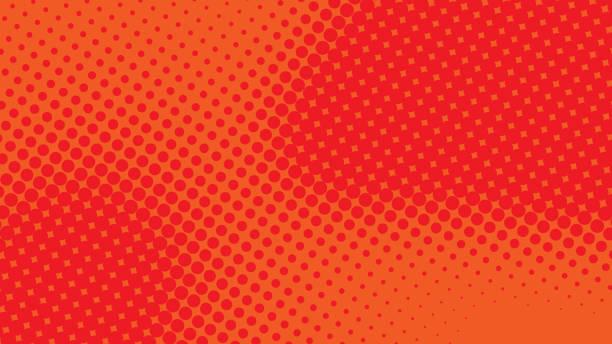stockillustraties, clipart, cartoons en iconen met rode en oranje popart retro achtergrond met halftoon gestippelde ontwerp in komische stijl, vector illustratie eps10 - popart