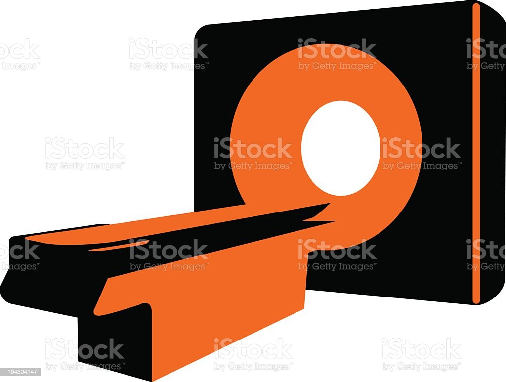 Red and orange stylized image of a CT scanner royalty-free stock vector art