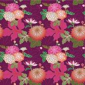 Red and pink chrysanthemums (Seamless pattern kimono style)