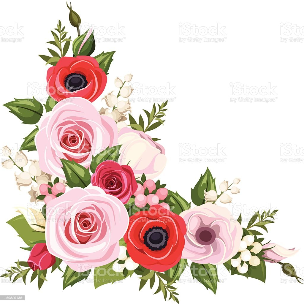 red and pink flowers vector corner background stock vector art rh istockphoto com flower artwork in vector flower artwork in vector