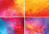 abstract red, orange, pink low poly backgrounds, set of vector design elements