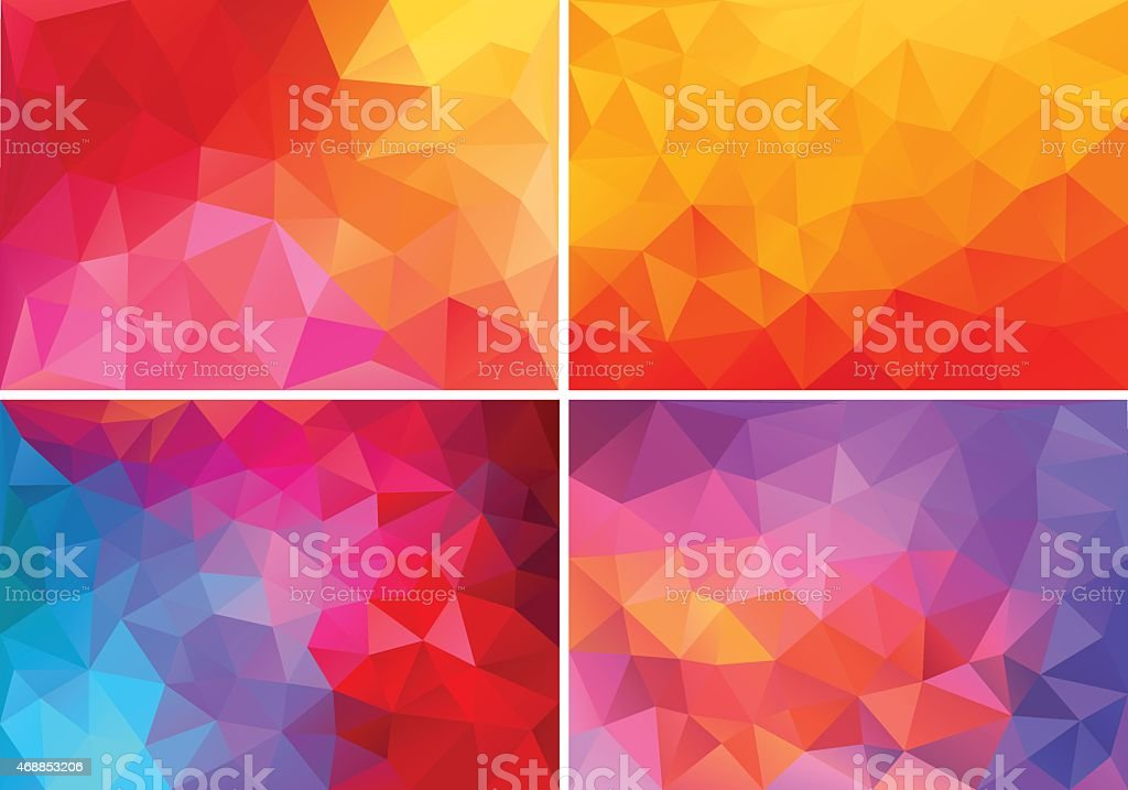 red and pink low poly backgrounds, vector set vector art illustration