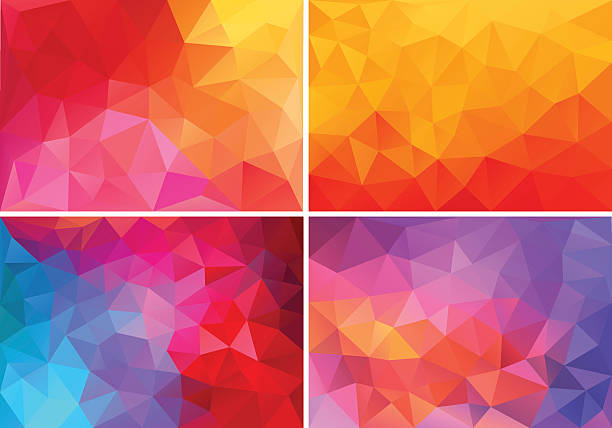 red and pink low poly backgrounds, vector set abstract red, orange, pink low poly backgrounds, set of vector design elements low poly modelling stock illustrations