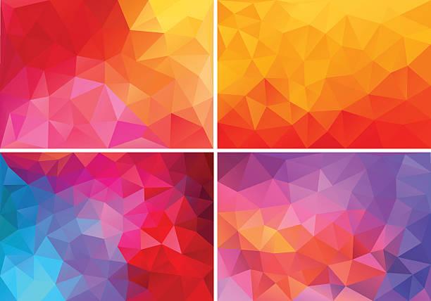 illustrations, cliparts, dessins animés et icônes de low poly ros'et rouge, arrière-plans, vector set - orange couleur