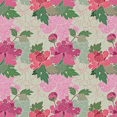 """Vector illustration of seamless, Japanese textile design with colorful peonies (paeonia) in a """"silk kimono-style""""."""