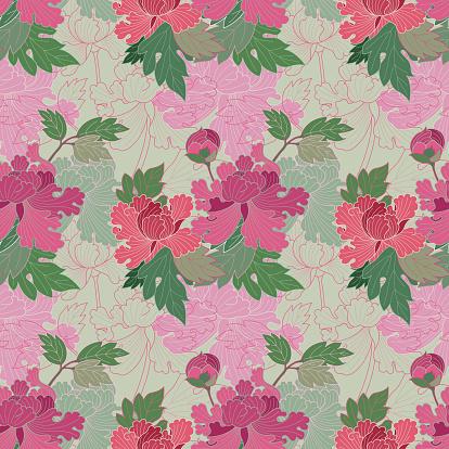 Red and pink peonies (Seamless pattern kimono style)